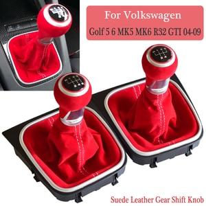 Image 4 - Pomo de cambio de marchas de cuero, cubierta de maletero de Polaina, 5 y 6 velocidades, para Volkswagen VW Golf 5, 6, MK5, MK6, R32, GTI, 2006 2012