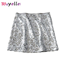 Women Sexy Sequin Skirt 2019 Side Zipper A Line Party Club Street Wear Female Skirts Chic Stylish Shiny Sequined Mini