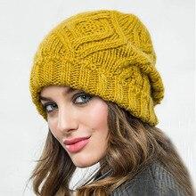 2019 אופנה חדשה יהלומי בצורת כיכר רך צמר נשים סרוג כובע סתיו חורף חם צמר כובע M02