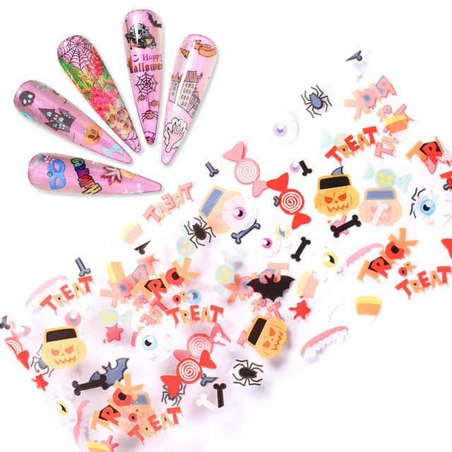 10 Pcs/Pack Nail Foil Stickers Halloween Series
