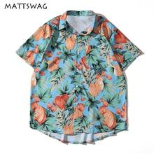 MATTSWAG Men Hawaiian Shirt Apple Leaf Printed Men Beach Aloha Mens Shirts Short Sleeve Summer Tropical Camp Holiday Men Clothes hollowed leaf printed hawaiian shirt