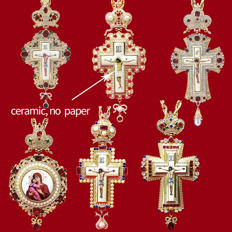 High Qualit Pectoral Cross Orthodox Jesus Crucifix Pendants Rhinestones Cross Chain Gold Religious Jewelry Pastor Prayer Items