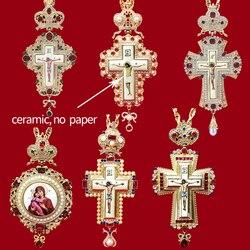 High quality pectoral cross orthodox Jesus crucifix pendants rhinestones cross chain gold religious Jewelry pastor Prayer items