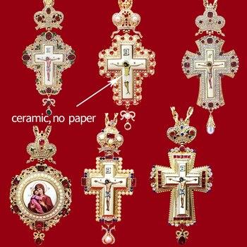 High quality pectoral cross orthodox Jesus crucifix pendants rhinestones chain gold religious Jewelry pastor Prayer items