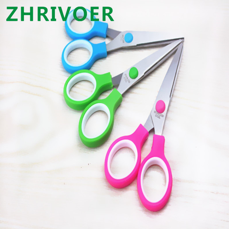 Color Plastic Handle Hand Scissors Stainless Steel Office Scissors Students Paperscissors Children Safety Scissors Customization