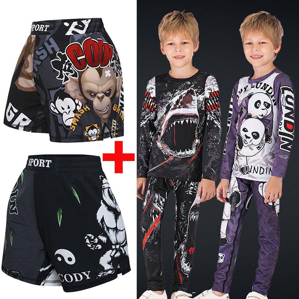 Muay Thai Shorts MMA Rashguard T-shirts Boy Jiu jusit Bjj Gi Boxing Jerseys Sets MMA Compression Sportsuits Rash guard Tights image