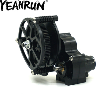 YEAHRUN Black Aluminum Inverted Transmission Gearbox For Axial SCX10 1/10 RC Crawler