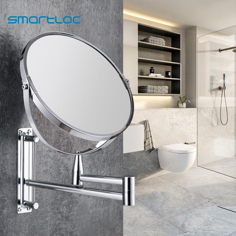 Smartloc Extendable  8 Inch 1X5X Magnifying Bathroom Mirror Smart Mirror Makeup  Wall Mounted Mirror Bathroom Mirror Cabinet