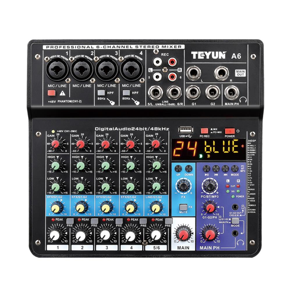 Wireless 6 Channel Audio Mixer Portable Sound Mixing Console USB Interface Computer Input 48V Phantom Power Monitor for Input|Professional  Audio Recording|   -