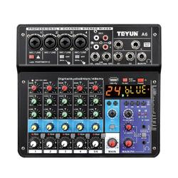 Wireless 6-Channel Audio Mixer Portable Sound Mixing Console USB Interface Computer Input 48V Phantom Power Monitor for Input