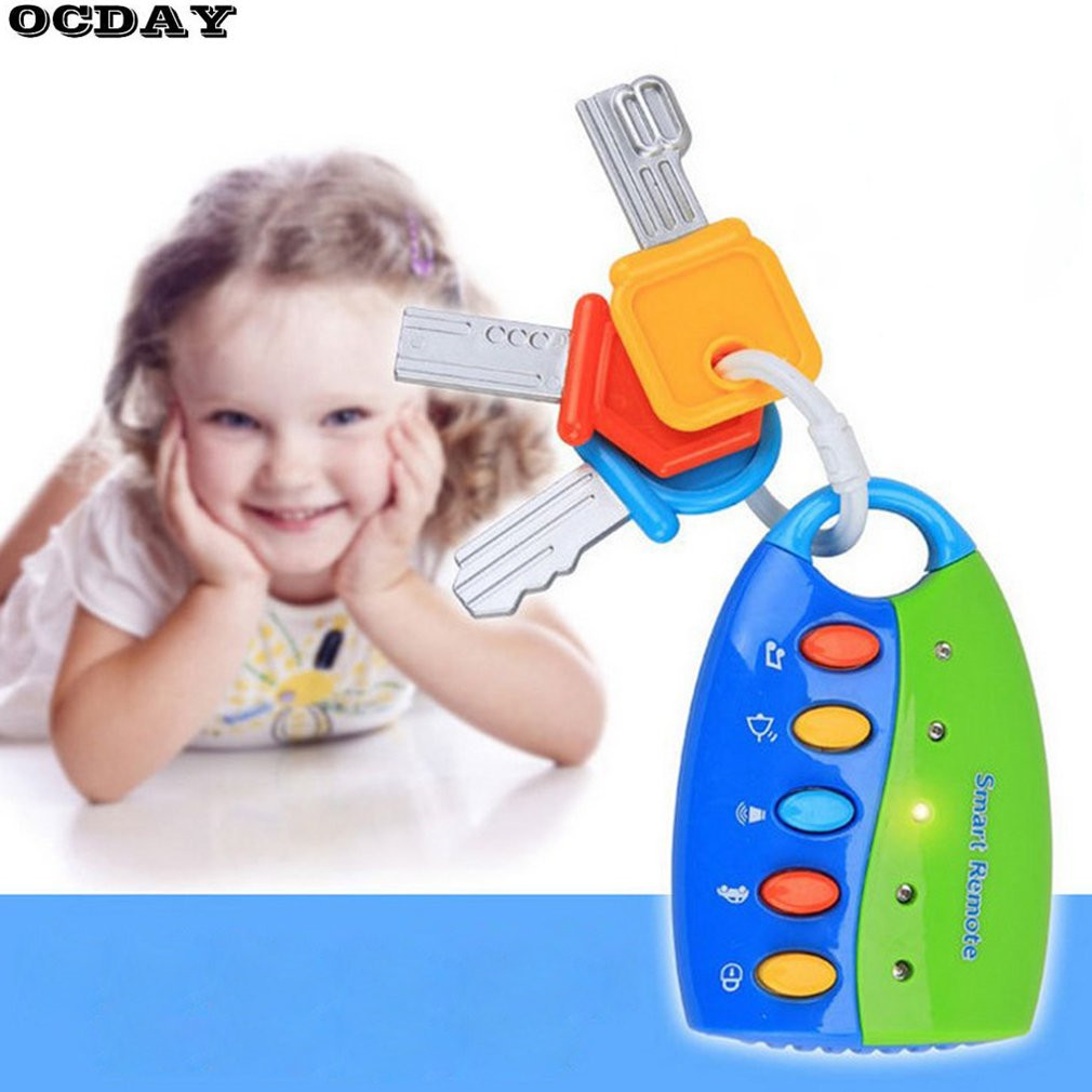 Children's Simulation Remote Control Car Key Lock Toy Pretend Play Flashing Music Baby Early Electronic Educational Toys