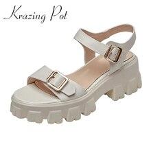 Krazing Pot duże rozmiary pełne ziarno skórzane szpilki styl preppy high fashion prosta w jednolitym kolorze styl klamry pasy damskie sandały L8f1