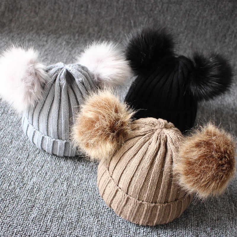 DMROLES 2019 ยี่ห้อใหม่ทารกแรกเกิดเด็กทารกเด็กฤดูหนาวที่อบอุ่นถักหมวกขนลูกบอล Pompom Warm Lovely Beanie หมวก