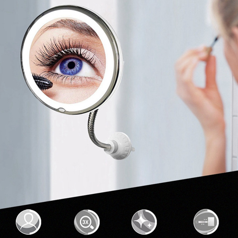 360 Degree 10X Folding Mirror Rotating Makeup Mirror  Magnifying Makeup Mirror With LED Light For Dropship