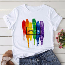 Женская футболка в стиле Харадзюку летняя с радужным графическим