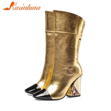 KARINLUNA New Runway Show Leather mid-calf Boots Ladies Luxury Brand Women 2019 High Heels Shoes Woman 33-43