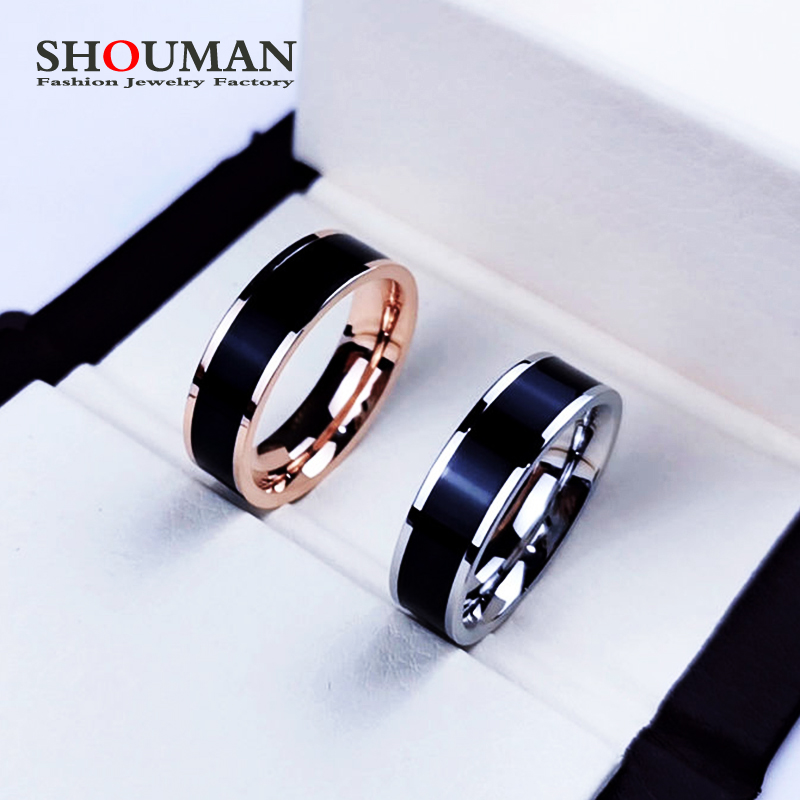 SHOUMAN Rose Gold Color White Black Charm Ring for Woman Man Custom Engrave Name Wedding Jewelry 316L Stainless Steel Never Fade
