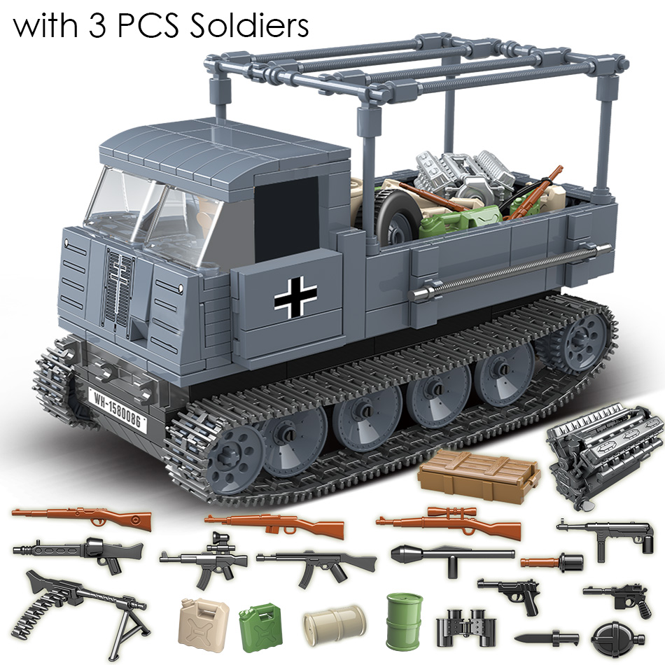 551PCS German Army RSO Armored Truck With Weapon Soldiers Military Vehicles Building Blocks Compatible Legoed WW2 Figures Toys