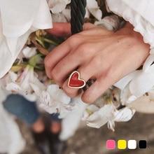 Новые поступления должны иметь Винтаж золото Цвет красное сердце кольца для Для женщин в минималистском стиле Вечерние кольца костяшки Размеры 7