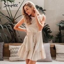Simplee sem mangas babados vestido feminino cintura alta cinto o pescoço a linha vestido de verão algodão sólido feminino primavera escritório mini vestido