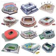 Klasyczne Puzzle DIY Puzzle 3D świat stadion piłkarski europejski plac zabaw dla dzieci zmontowany Model budynku Puzzle zabawki dla dzieci