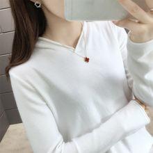 Женский свитер новинка 2020 вязаный пуловер с v образным вырезом