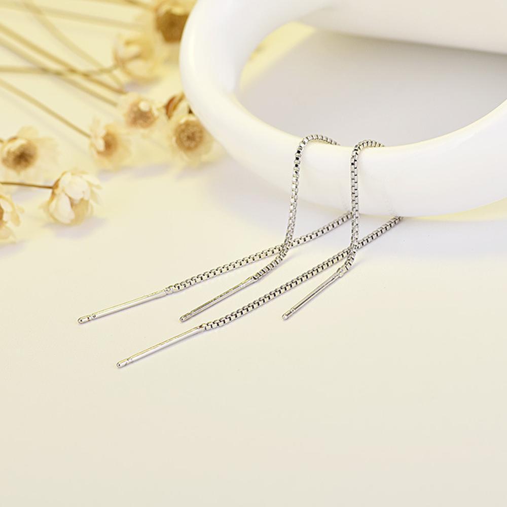 2020 New Minimalist Silver Color Chain Long Tassel Drop Earring For Women Statement Dangle Earrings Personality Ear Line Jewelry