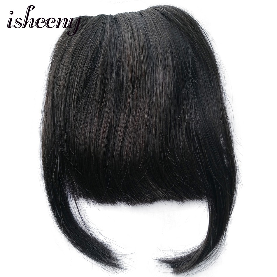 Hair-Piece Clip-Hair Human-Hair-Bangs in Isheeny with Two-Side-Corner 20g-Extensions