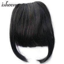 """Isheeny """" Nautral черные человеческие волосы на 2 клипсах прямые волосы с двумя боковыми уголками 20 г накладные волосы на заколках"""