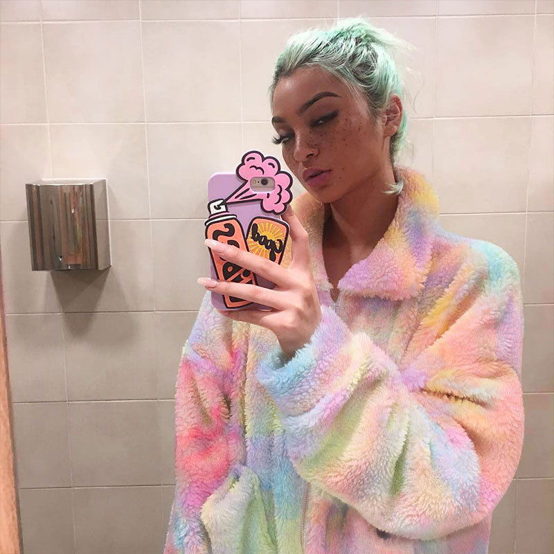 Fashion Rainbow Color Women Faux Fur Coat Ladies Fluffy Coat & Jackets  Female Zipper Up Fleece Jacket Winter Thick Outwear