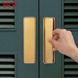 WV Hidden Door Handle Black Gold Embedded Handle Zinc Alloy Door Invisible Cabinet Handle Recessed Pulls Knob Furniture Hardware