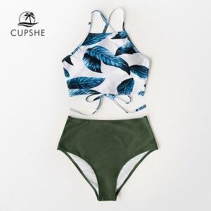 Image 4 - Cupshe folhas de chá de ervas de cintura alta conjuntos de biquíni verão sexy rendas até tanque maiô 2020 senhoras praia maiô
