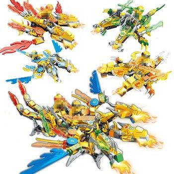 Ninja Dragon Knight 2heads Thunder Swordsman Model Building Blocks KAI JAY ZANE Figures Toys Bricks gift for children boys