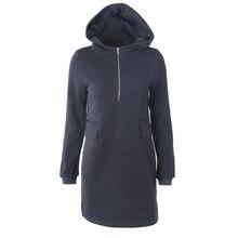 цена на S-2XL Medium Length Plain Drawstring Hoodie Dress Long Sleeve Zipper False Pocket Winter Coat Women New Streetwear Crop Hoodie
