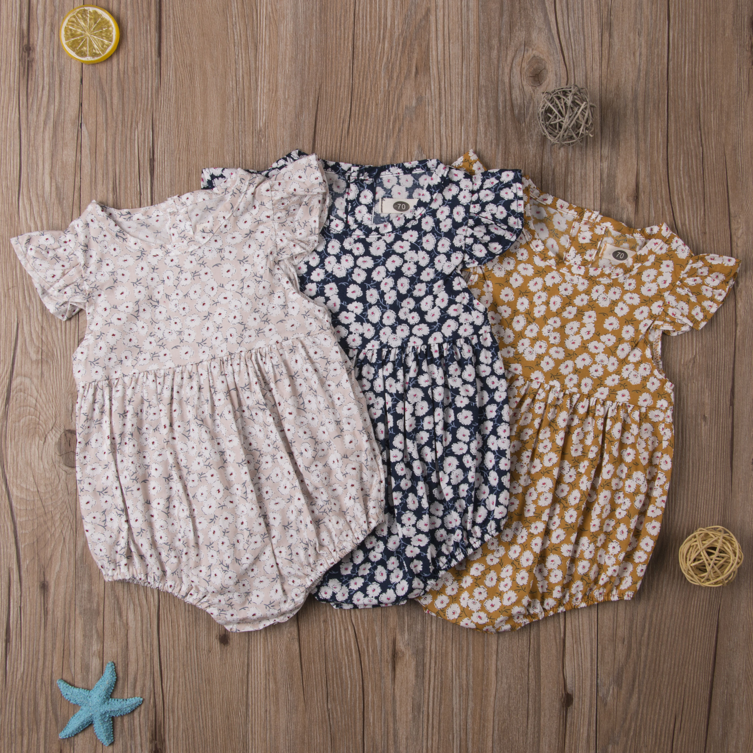 Infant Cute Baby Toddler Girls Summer Floral Jumpsuit Sleeveless Bodysuit One-piece Outfits Summer Casual Baby Clothes 0-24M