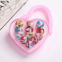 12pcs Disney Frozen 2 Elsa Rings Toy For Girls Children Ring Pack Cartoon Beauty Fashion Heart Display Box Baby Kids Toy Gift