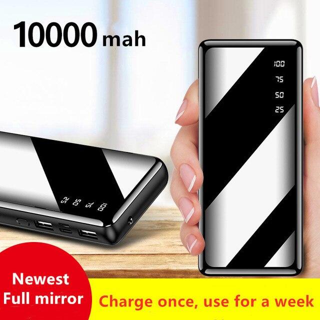 10000 ポータブルミニ電源銀行高速充電ミラースクリーンデジタル表示 powerbank 懐中電灯照明スマートモービル電話
