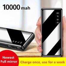 Mini batería portátil de 10000mAh, pantalla de espejo de carga rápida, pantalla Digital, batería externa, linterna, iluminación para Teléfono Móvil Inteligente