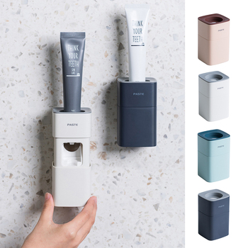New Automatic Toothpaste Dispenser Dust-proof Toothbrush Holder Wall Mount Stand Bathroom Accessories Set Toothpaste Squeezers automatic toothpaste dispenser dust proof toothbrush holder wall mount stand bathroom accessories toothpaste squeezers tooth b4