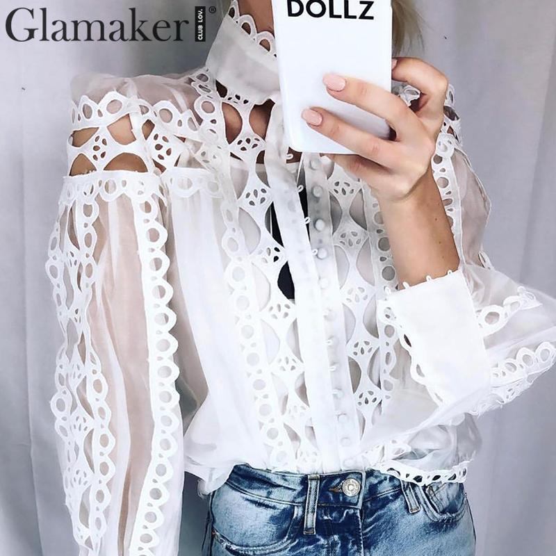 Glamaker Hollow Out White Long Sleeve Blouse Women Autumn Stand Collar Sexy Blouse Shirt Top Female Winter Party Chiffon Top