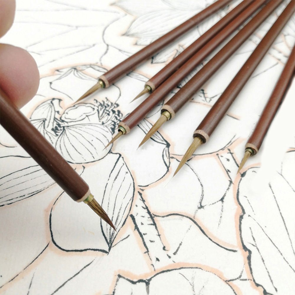3pcs/set Metal Head Hook Line Fine Paint Brush Chinese Calligraphy Brush Pen Paint Brush Art Stationary Oil Painting Brush