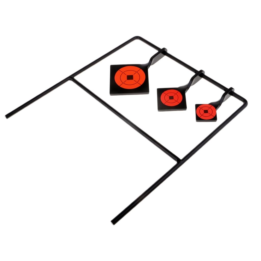 Square Self Resetting 3 Targets Spinning Shooting Metal Target Set