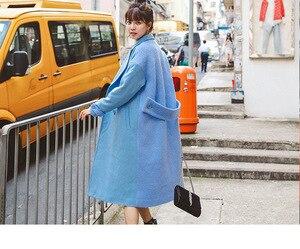 Image 2 - Abrigo liso de mezcla de lana con doble botonadura para mujer, chaqueta con bolsillos y cuello vuelto, abrigos largos azules informales para mujer