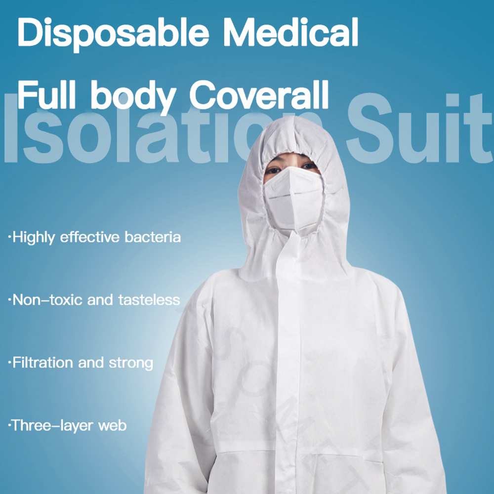 Disposable Isolation Suit Antibacterial Protective Clothing Medical Anti-Virus Dust-proof Clothes Anti Infection Coverall Suit