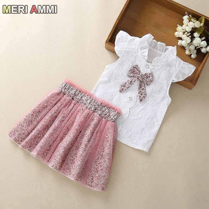 MERI AMMI 2 pcs Set Children Girl Clothing Outfit Set Sleeveless Floral Tee +Flower Skirts For 2-13 Year Girl