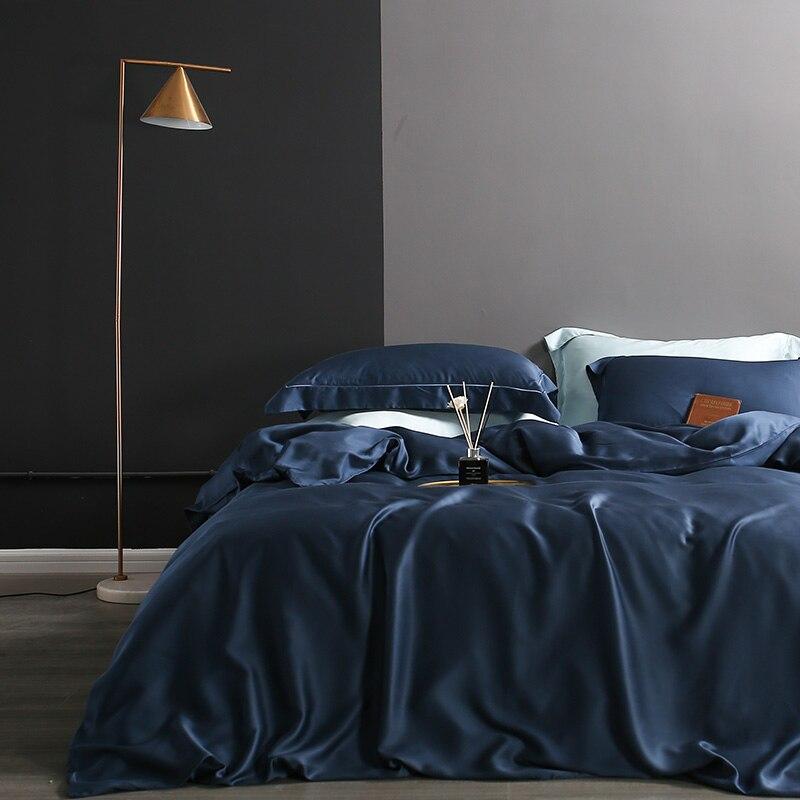 Sondeson luxo 100% seda azul escuro conjunto