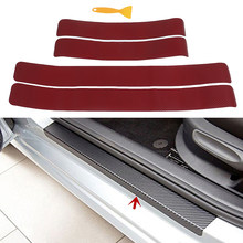 4 stuks Plaat Sill Scuff Cover Sticker Panel 3D Carbon Fiber Look Auto Deur(China)