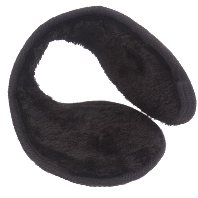 Men Women Winter Faux Leather Earmuffs Foldable Thicken Plush Lining Black Outdoor Snow Skiing Middle-Aged Ear Warmers