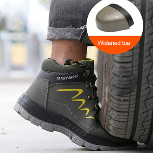 Image 3 - Waterproof Men Safety Shoes Leather Construction Officer Work Boots Steel Toe Bulletproof Anti Smashing Comfortable