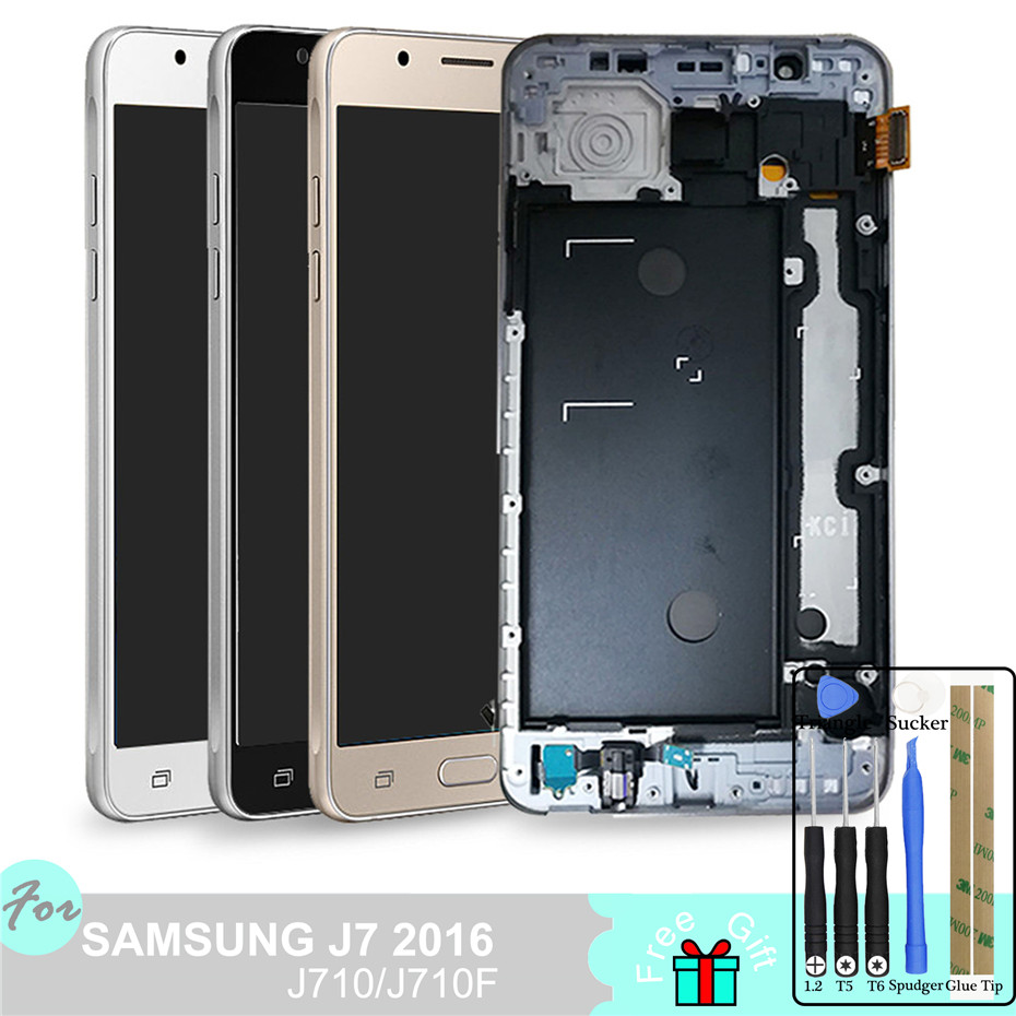 TFT LCD For Samsung Galaxy J7 2016 J710 J710FN J710F J710M J710Y J710G J710H Touch Screen Digitizer Assembly Frame Home Button